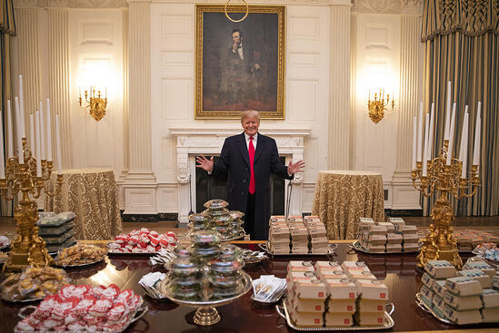 Trump and burgers - Source - White House via Flickr
