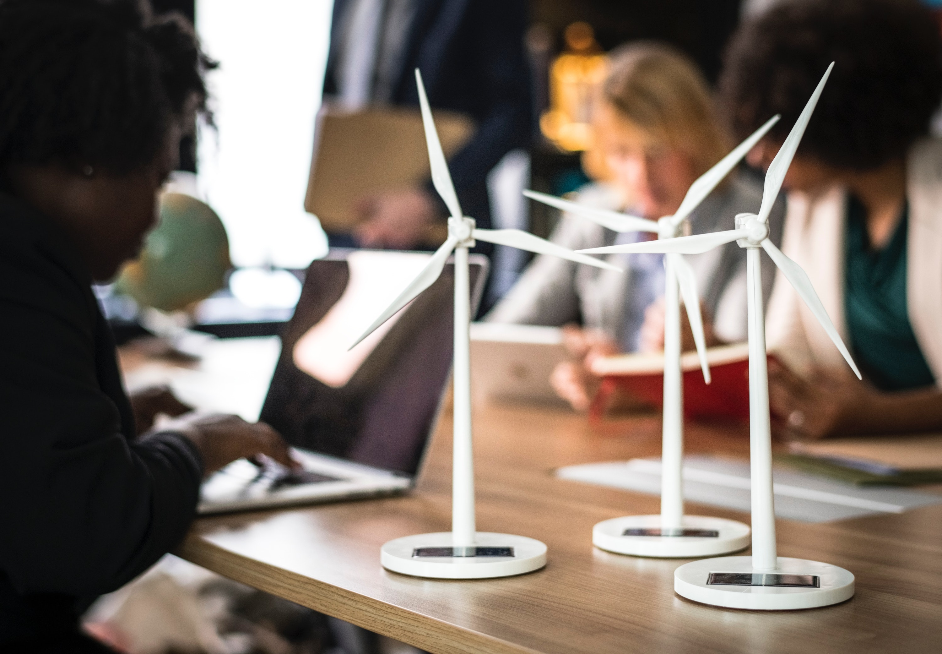 Wind turbines in the office rawpixel.com via Pexels